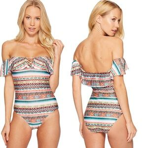 BECCA Tapestry One Piece Swimsuit Sz M